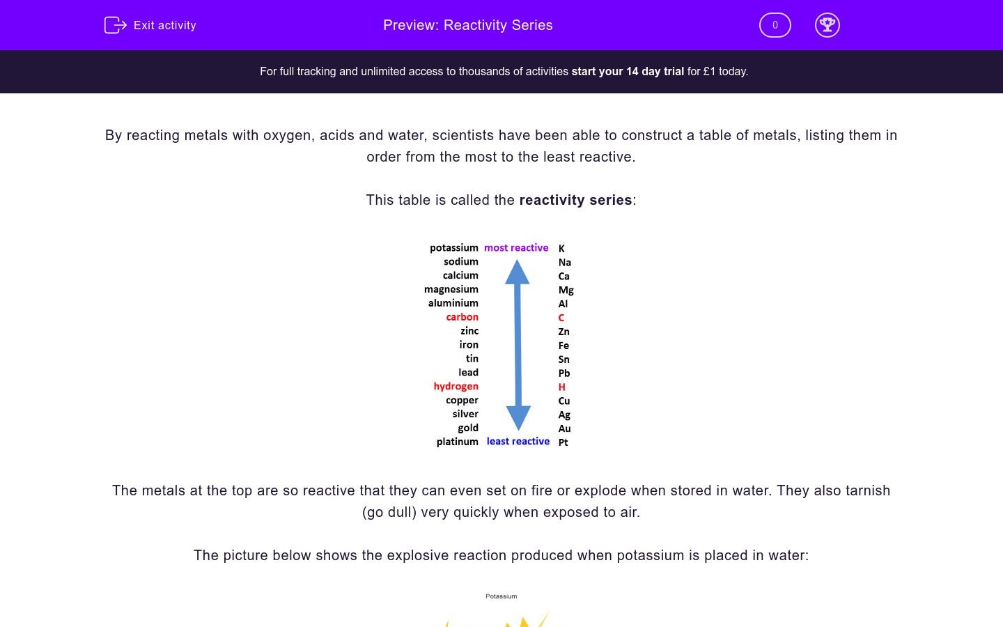 Reactivity Series Worksheet - EdPlace