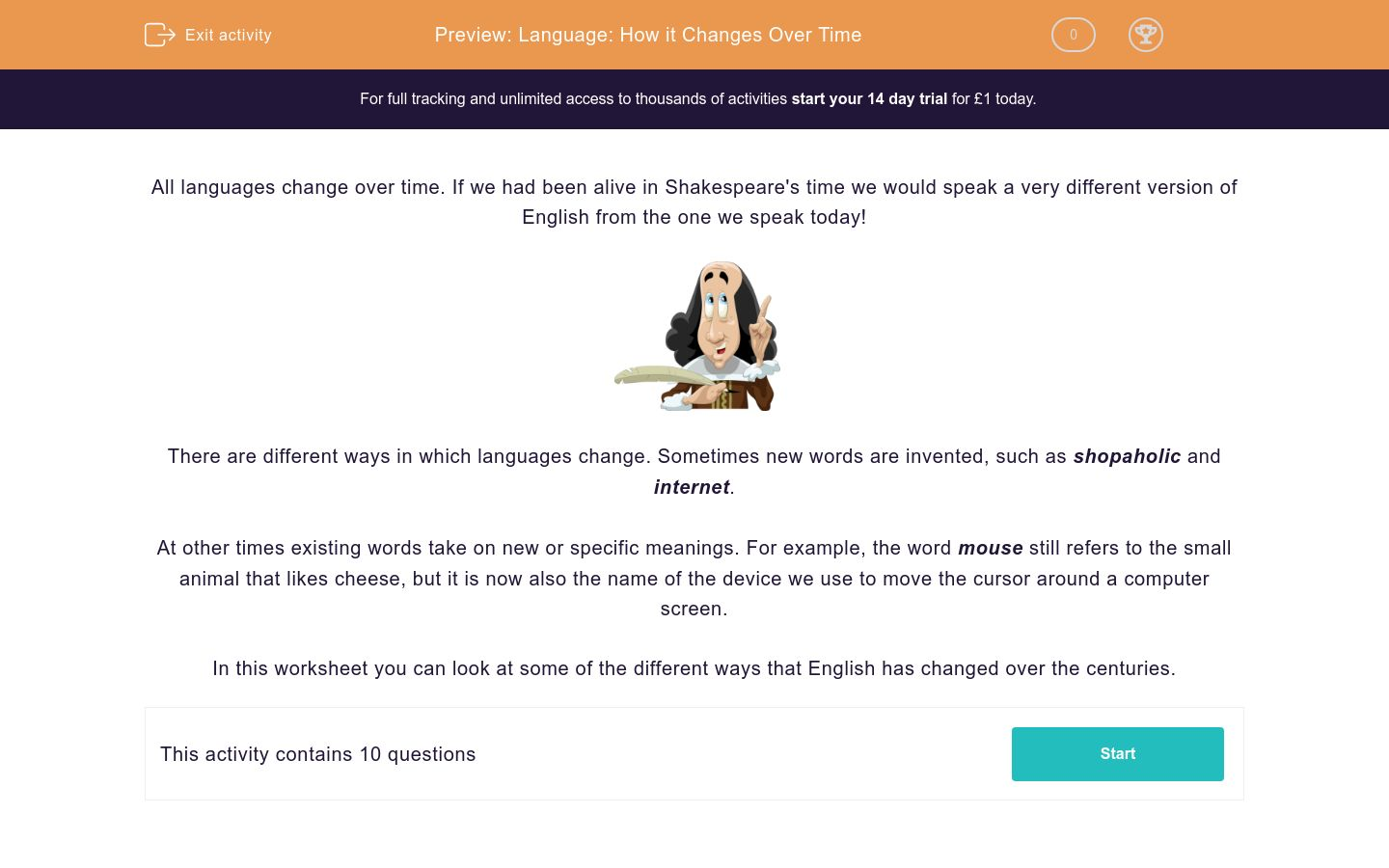 'Language: How it Changes Over Time' worksheet