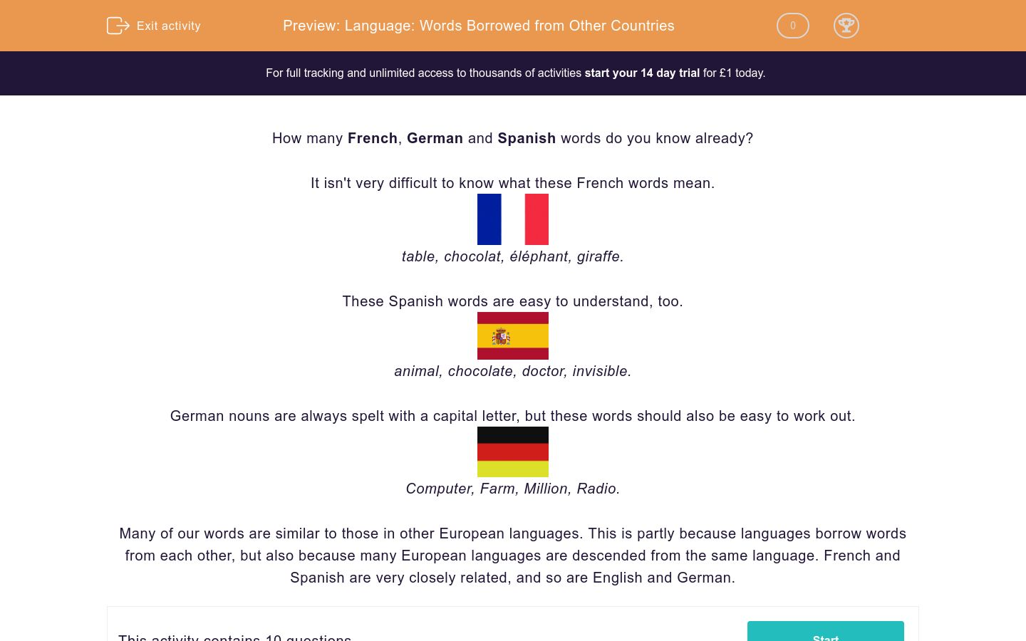 Language Words Borrowed From Other Countries Worksheet Edplace