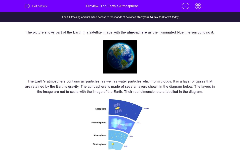 'The Earth's Atmosphere' worksheet