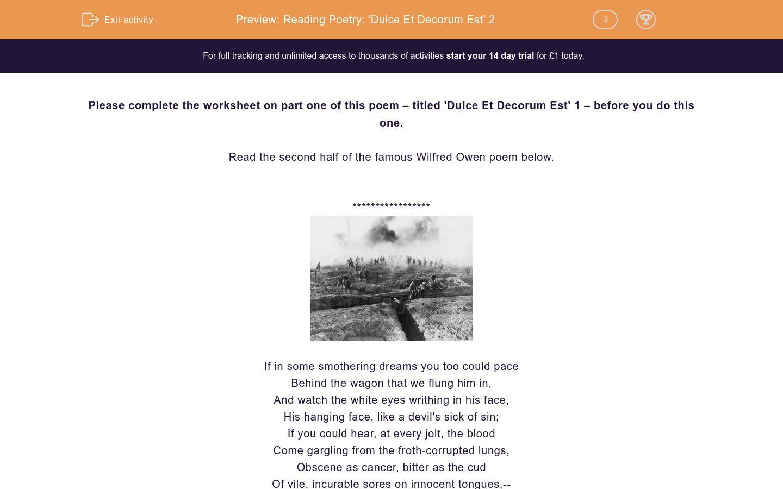 'Reading Poetry: 'Dulce Et Decorum Est' 2' worksheet