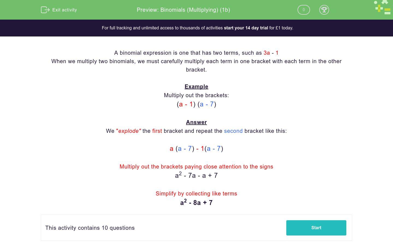 'Binomials (Multiplying) (1b)' worksheet