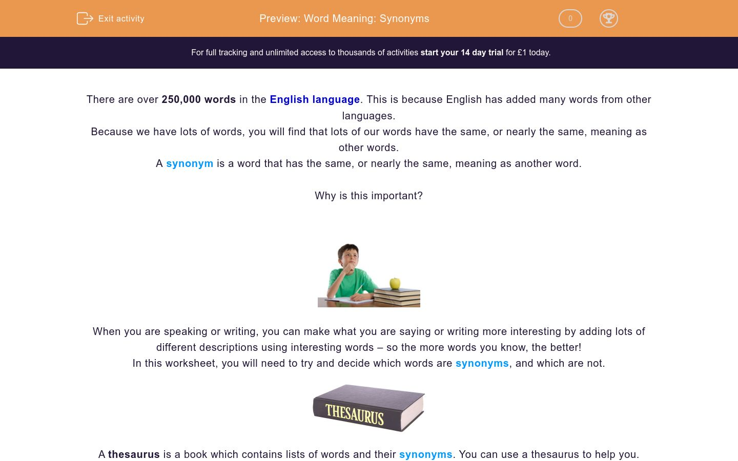 Word Meaning: Synonyms Worksheet - EdPlace