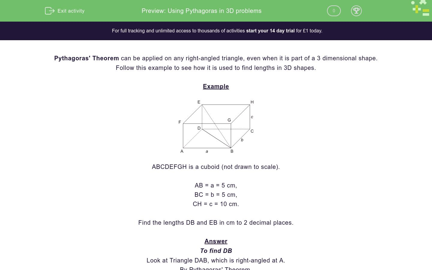'Using Pythagoras in 3D problems' worksheet