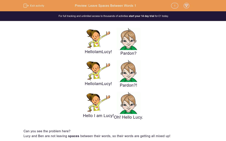 'Leave Spaces Between Words 1' worksheet