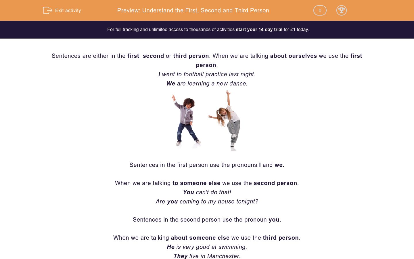 'Understand the First, Second and Third Person' worksheet