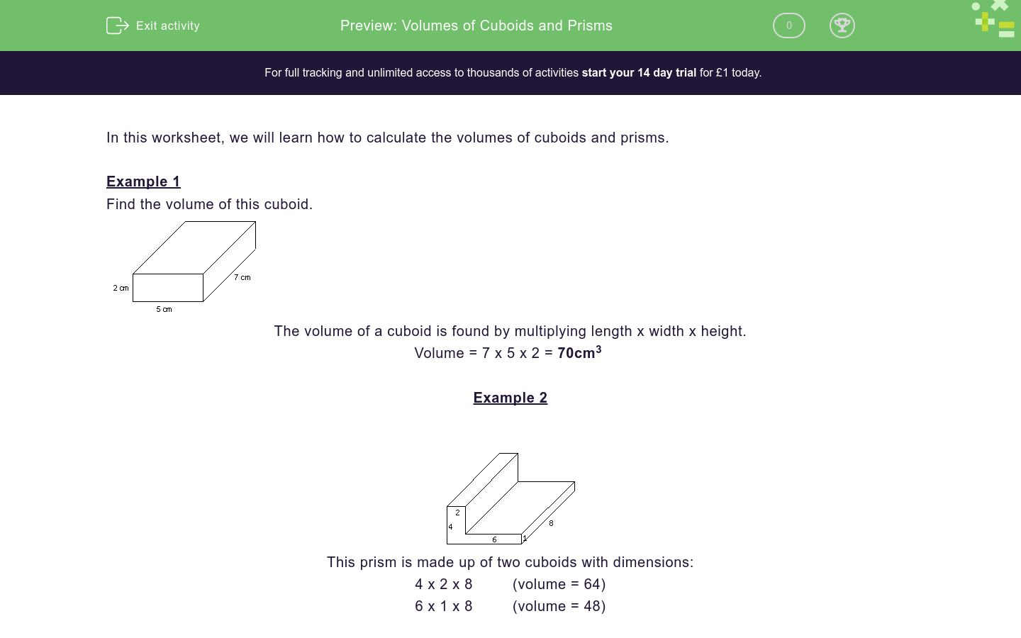 Volumes Of Cuboids And Prisms Worksheet Edplace