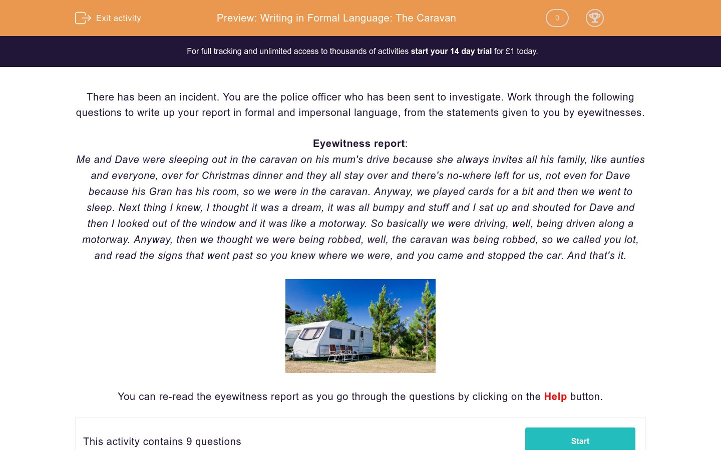 'Writing in Formal Language: The Caravan' worksheet