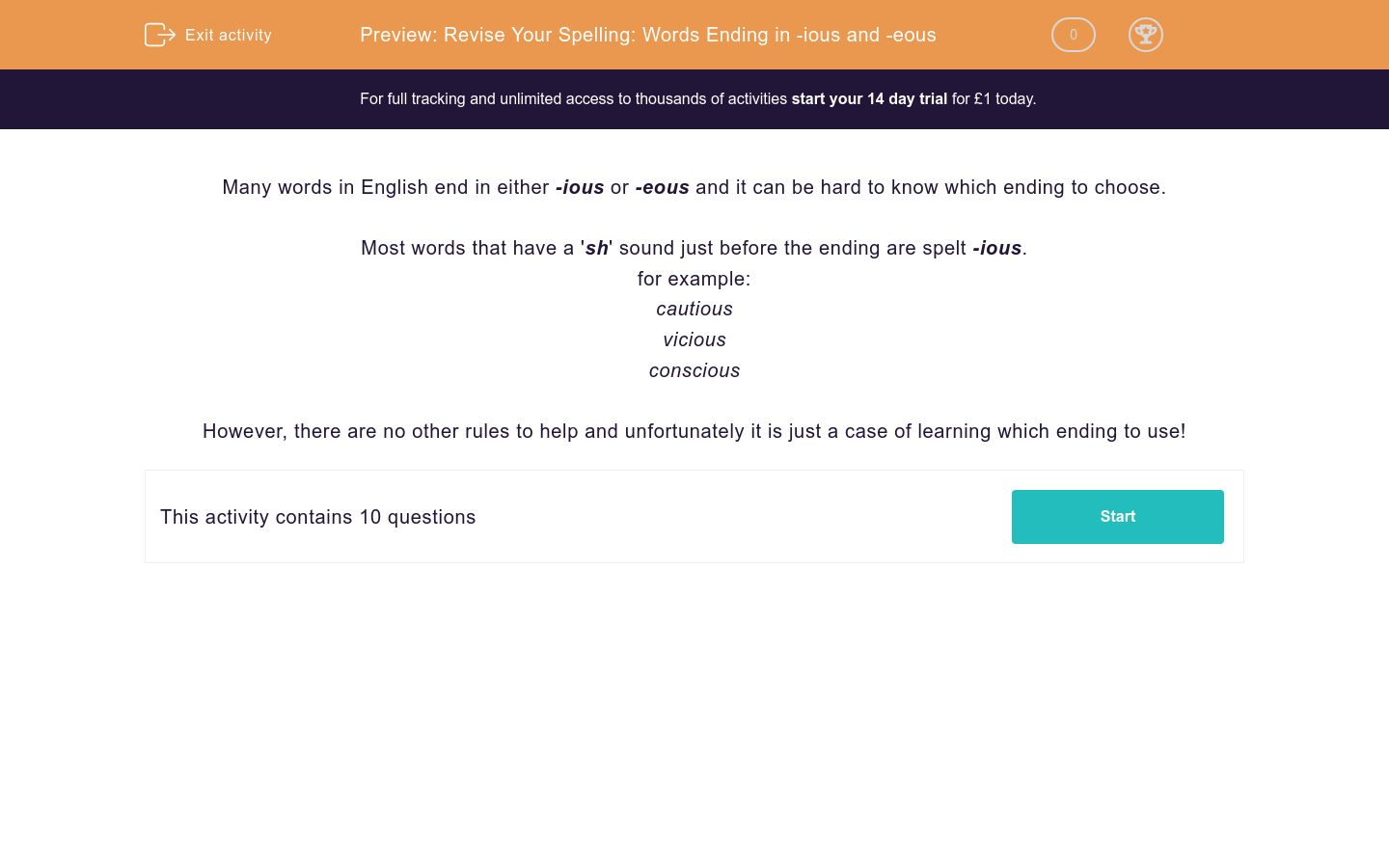 'Revise Your Spelling: Words Ending in -ious and -eous' worksheet