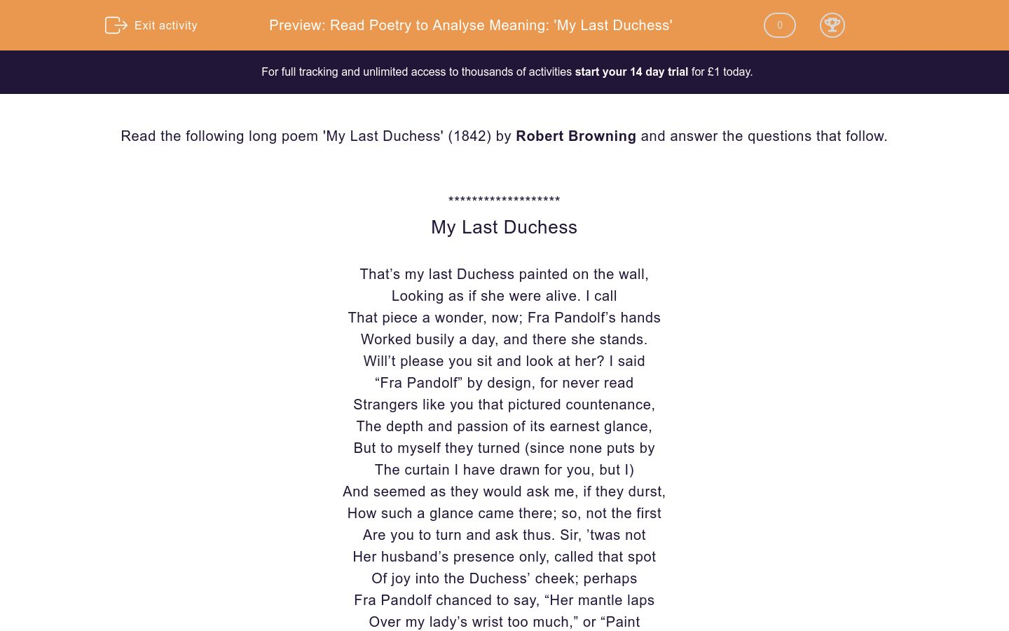 'Read Poetry to Analyse Meaning: 'My Last Duchess'' worksheet