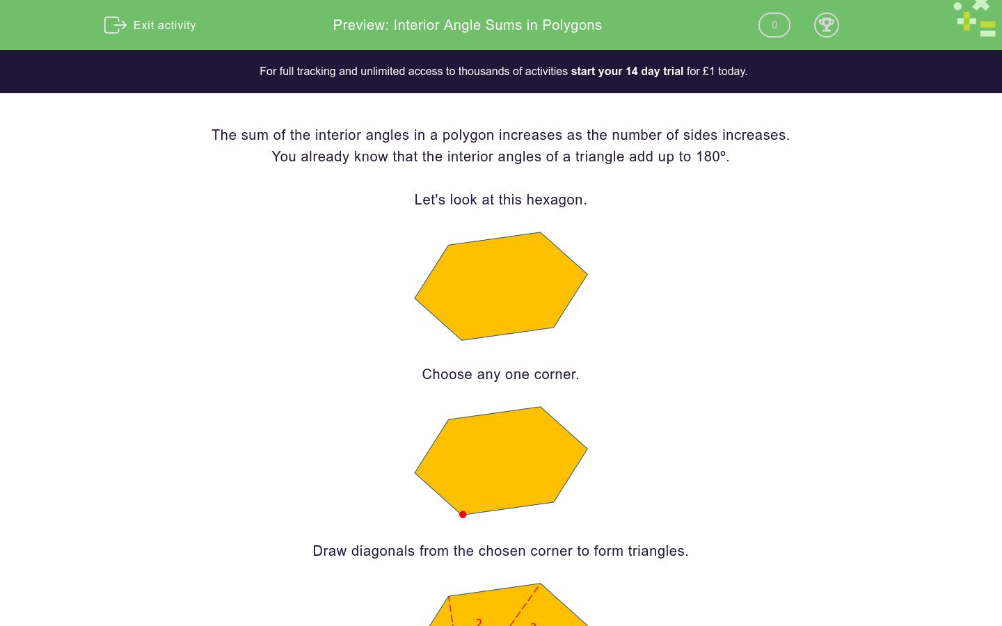 'Interior Angle Sums in Polygons' worksheet