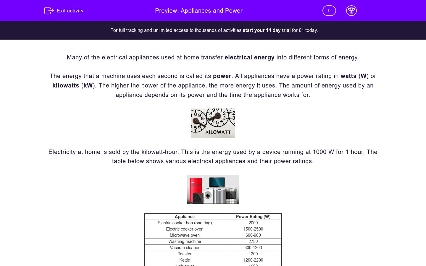 'Appliances and Power' worksheet