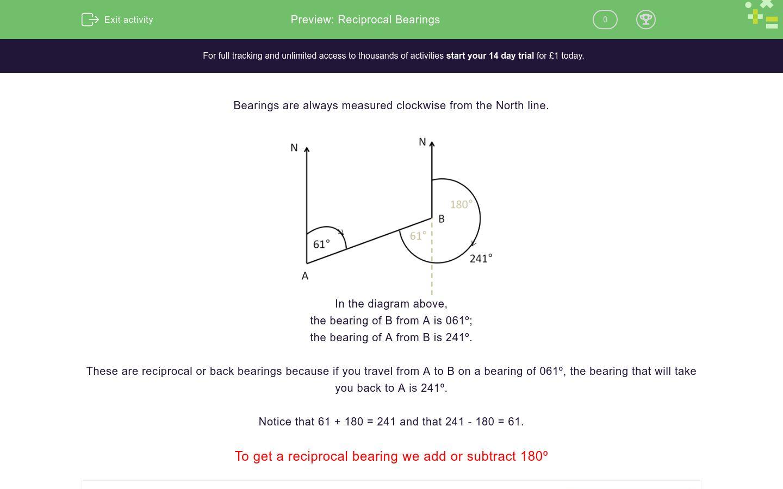 'Reciprocal Bearings' worksheet