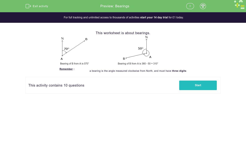 'Bearings' worksheet