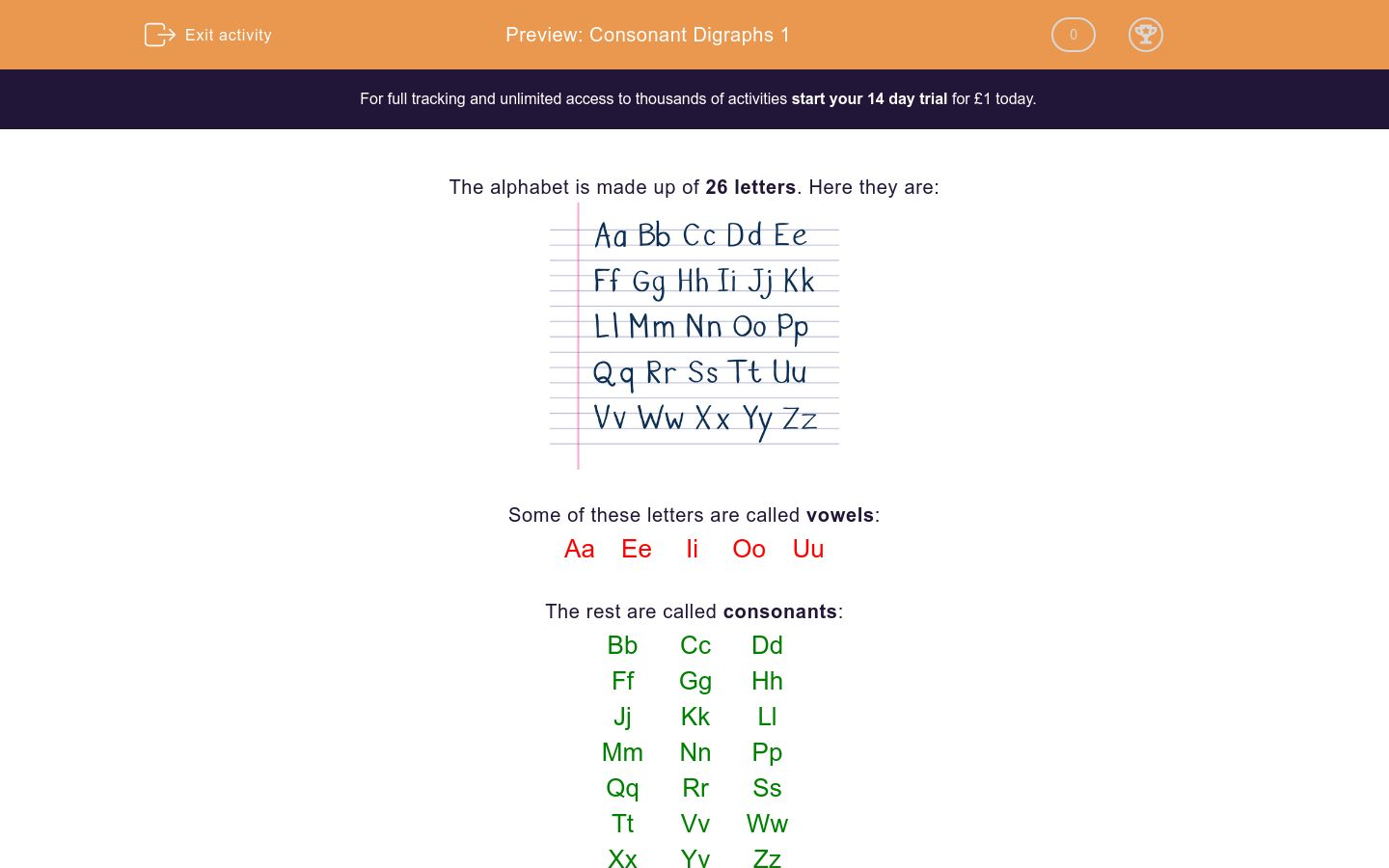 'Consonant Digraphs 1' worksheet