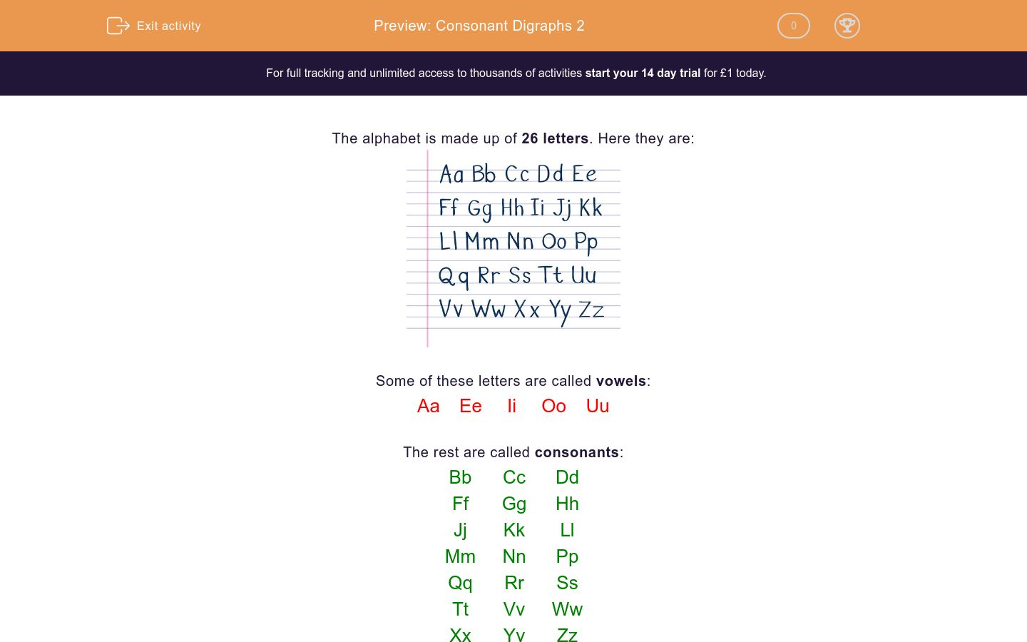 'Consonant Digraphs 2' worksheet