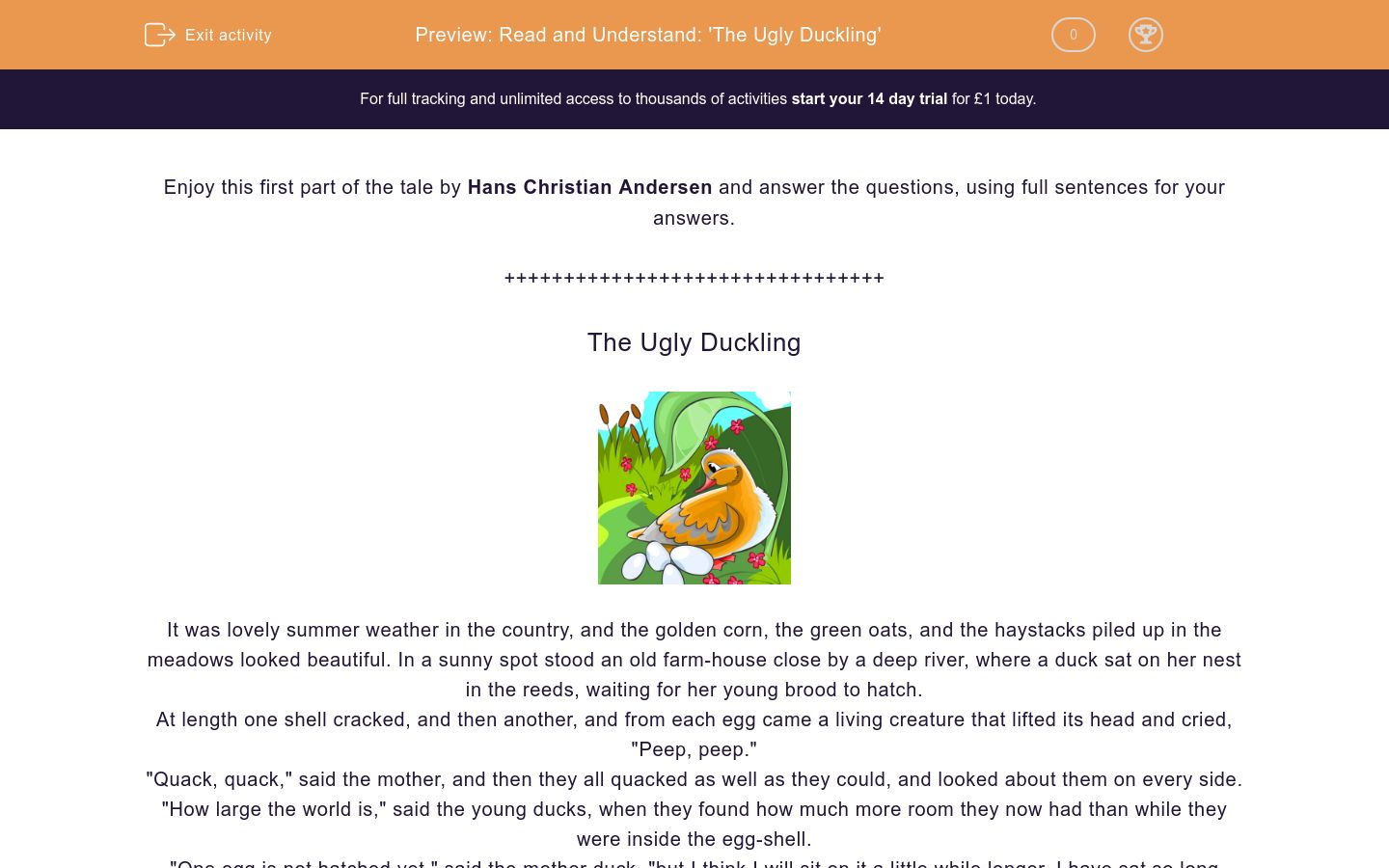 'Read and Understand: 'The Ugly Duckling'' worksheet