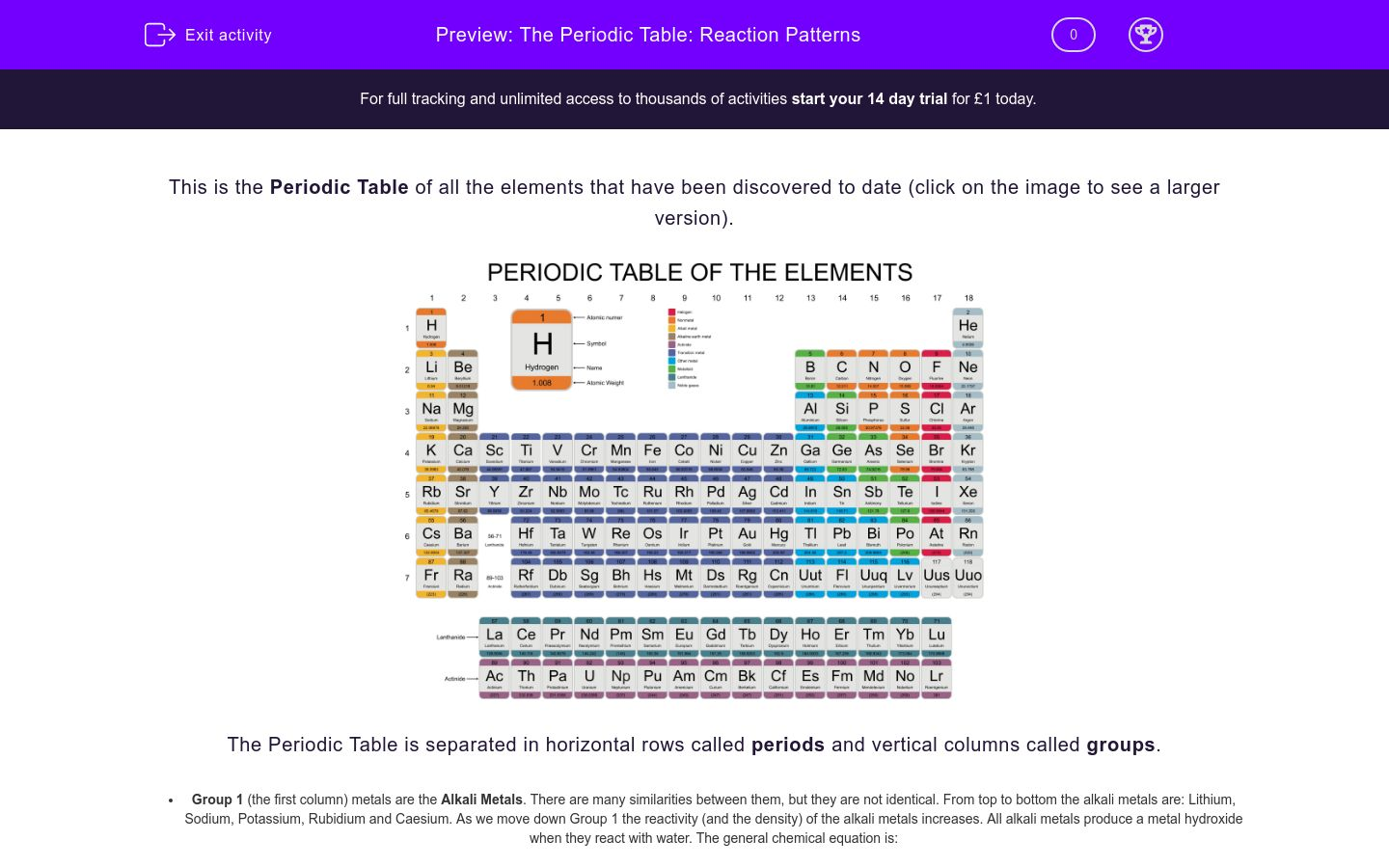 'The Periodic Table: Reaction Patterns' worksheet