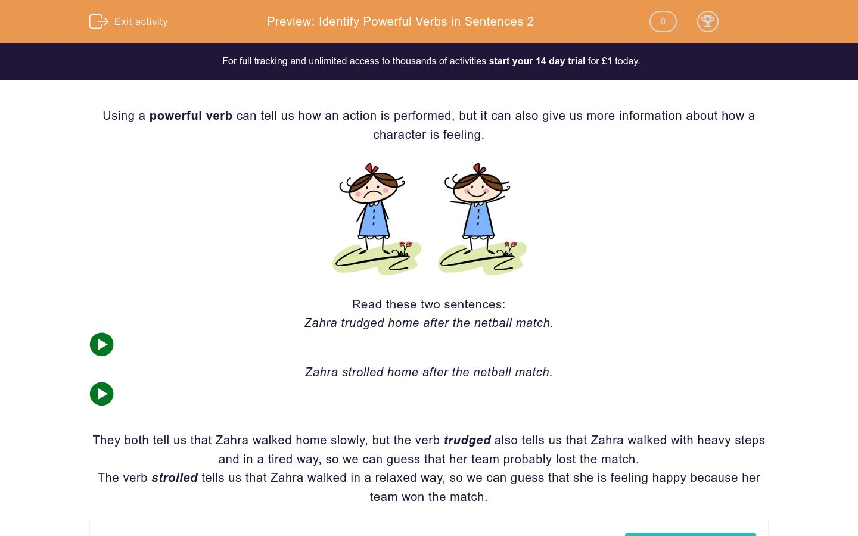 'Identify Powerful Verbs in Sentences 2' worksheet