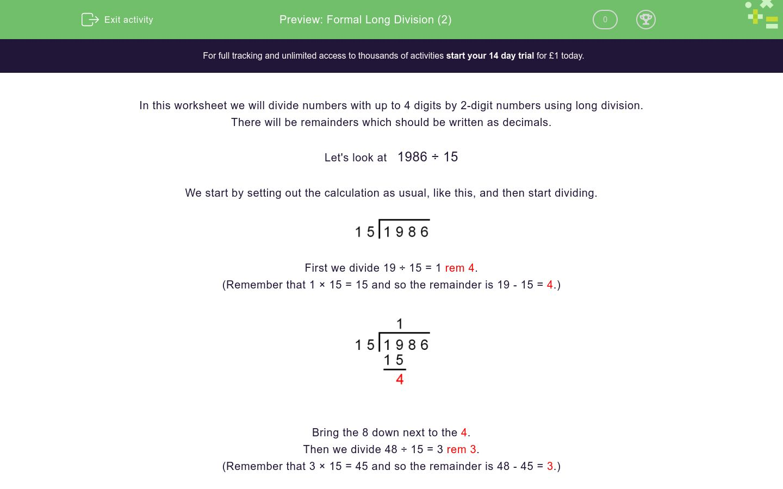 'Formal Long Division (2)' worksheet