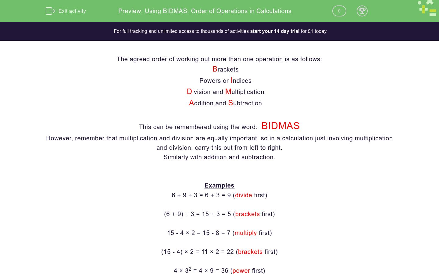 using bidmas order of operations in calculations worksheet  edplace using bidmas order of operations in calculations worksheet