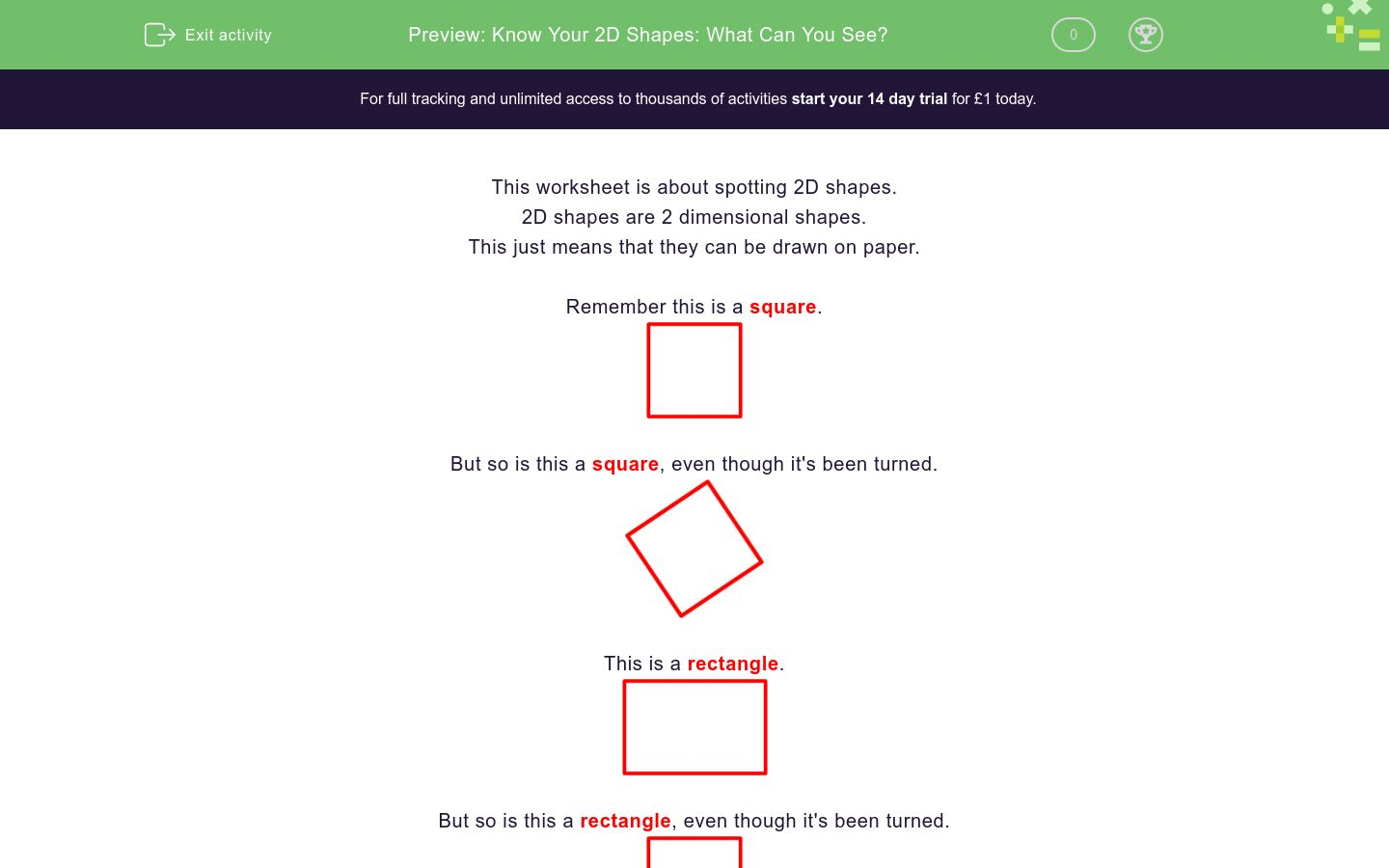 'Know Your 2D Shapes: What Can You See?' worksheet