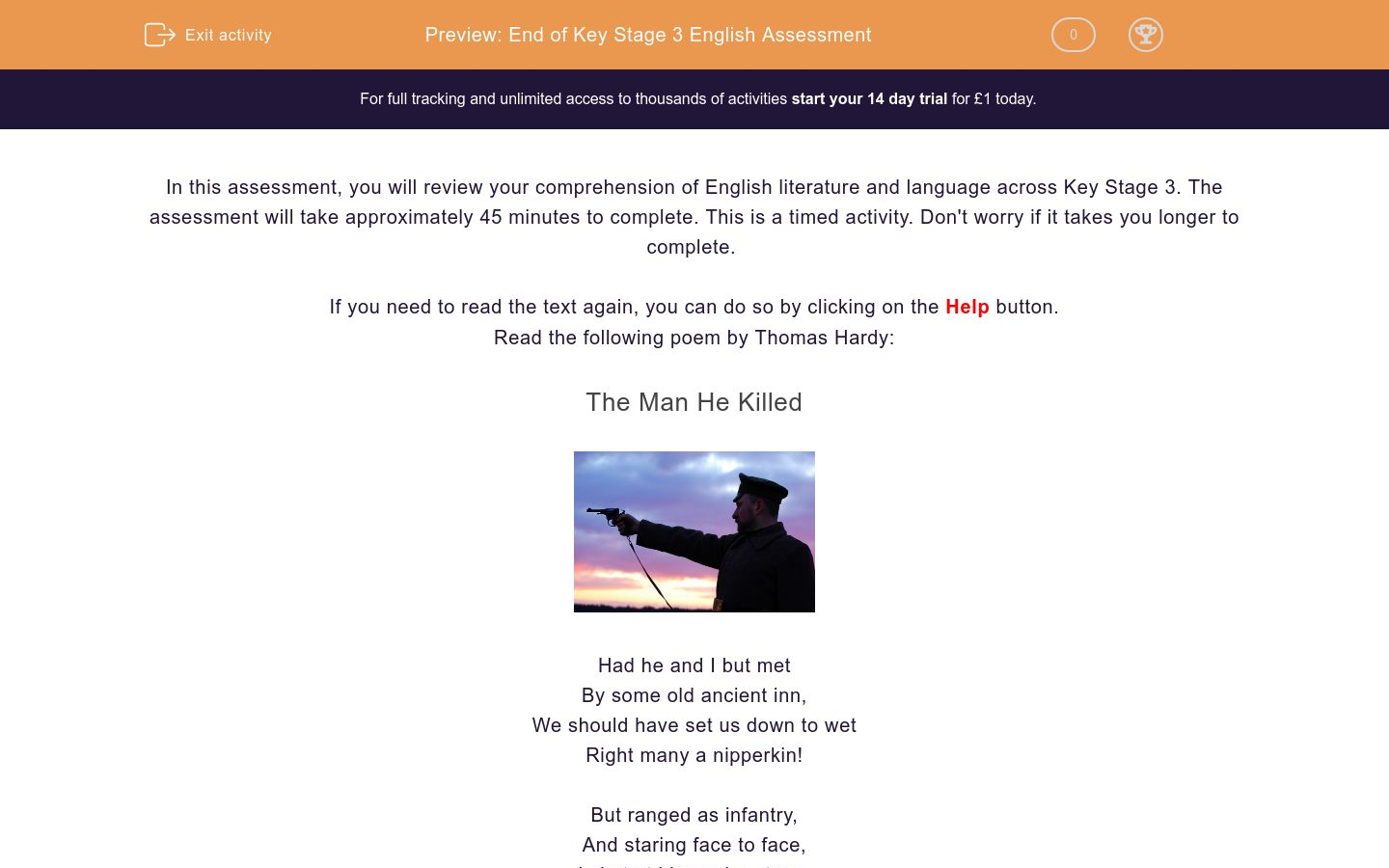 'End of Key Stage 3 English Assessment' worksheet