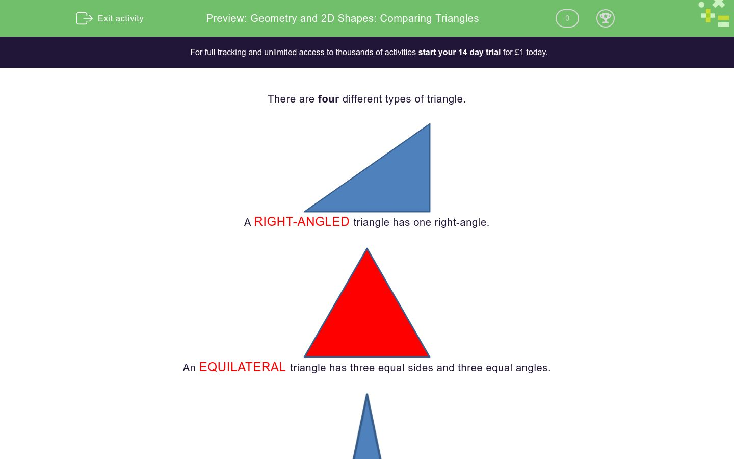 'Geometry and 2D Shapes: Comparing Triangles' worksheet