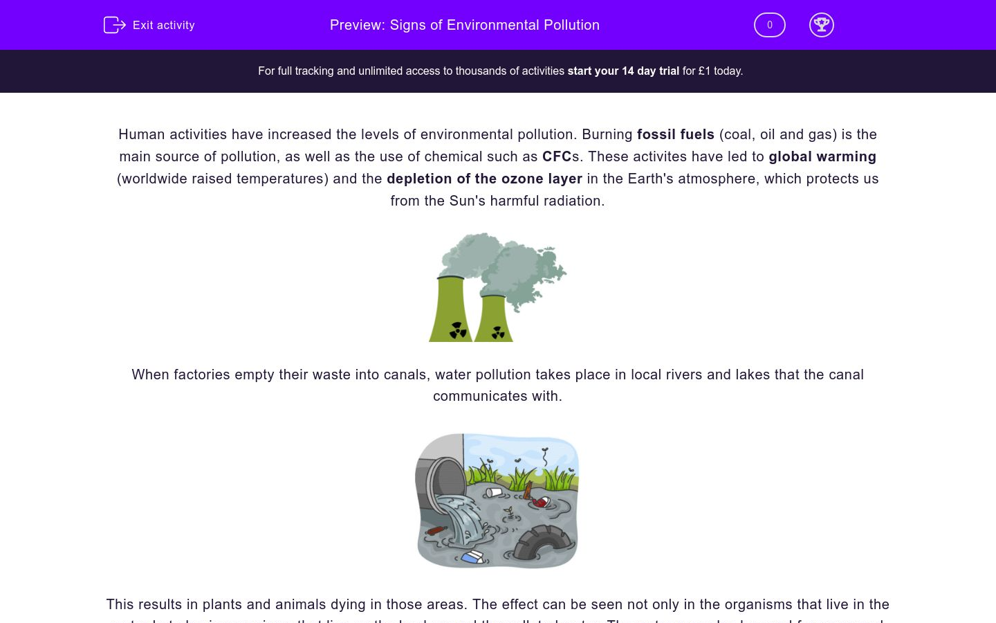'Understand the Signs of Environmental Pollution' worksheet
