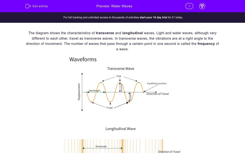 'Water Waves' worksheet