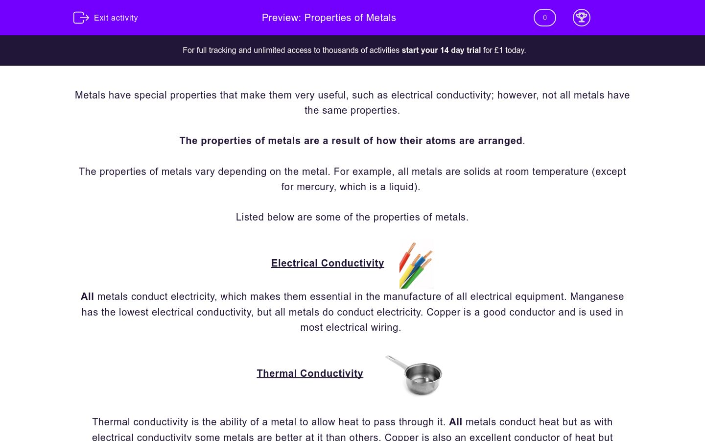 'Properties of Metals' worksheet