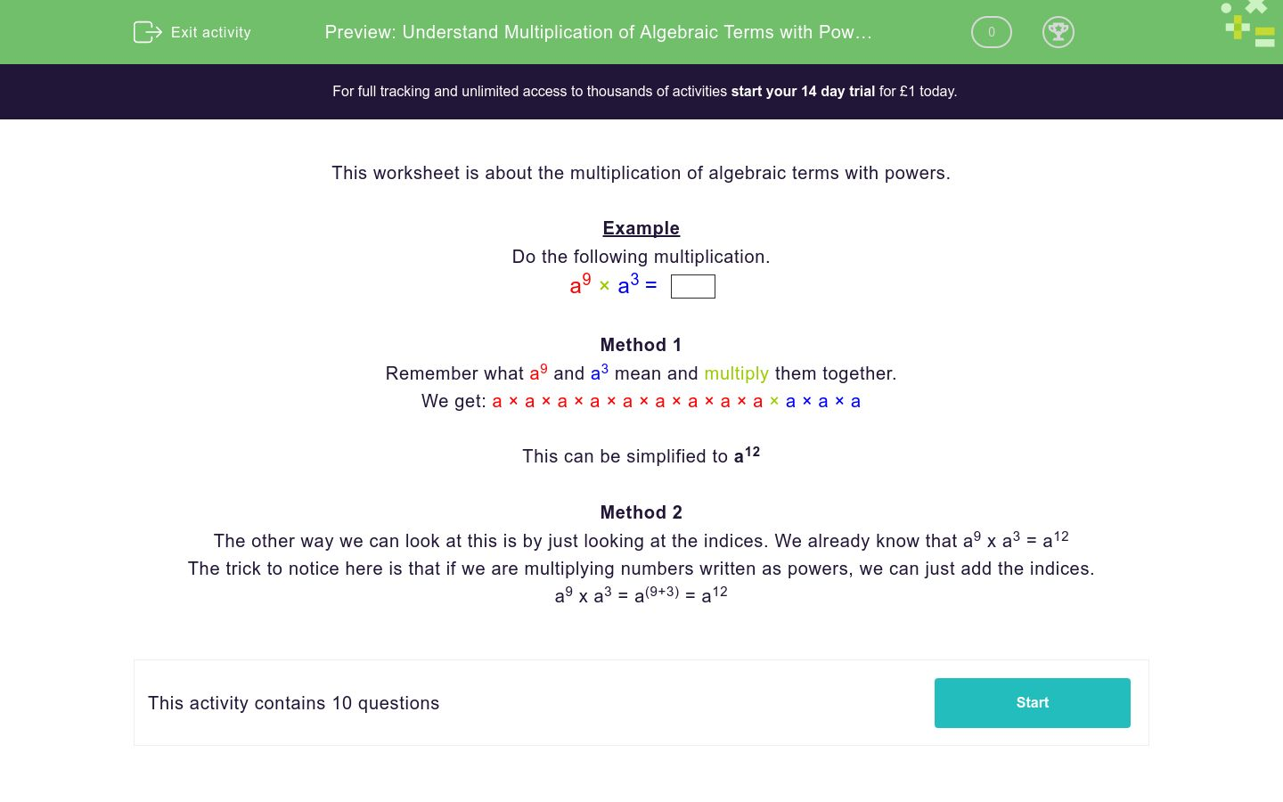 'Understand Multiplication of Algebraic Terms with Powers' worksheet