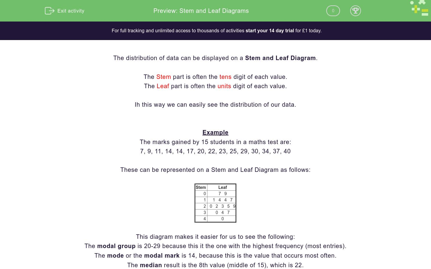 'Stem and Leaf Diagrams' worksheet