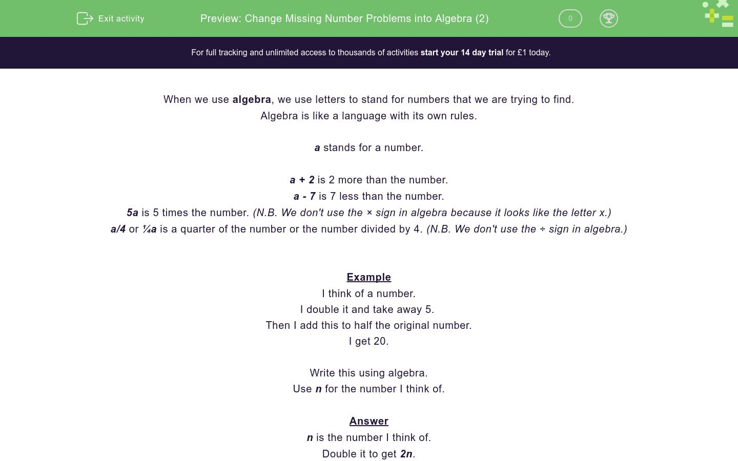 'Change Missing Number Problems into Algebra (2)' worksheet