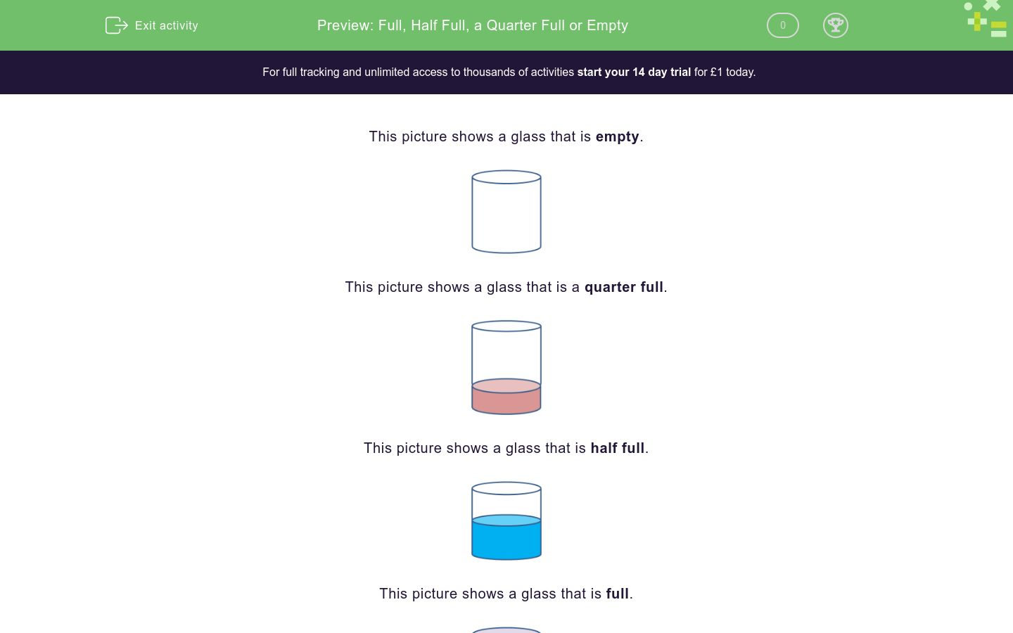 'Full, Half Full, a Quarter Full or Empty' worksheet