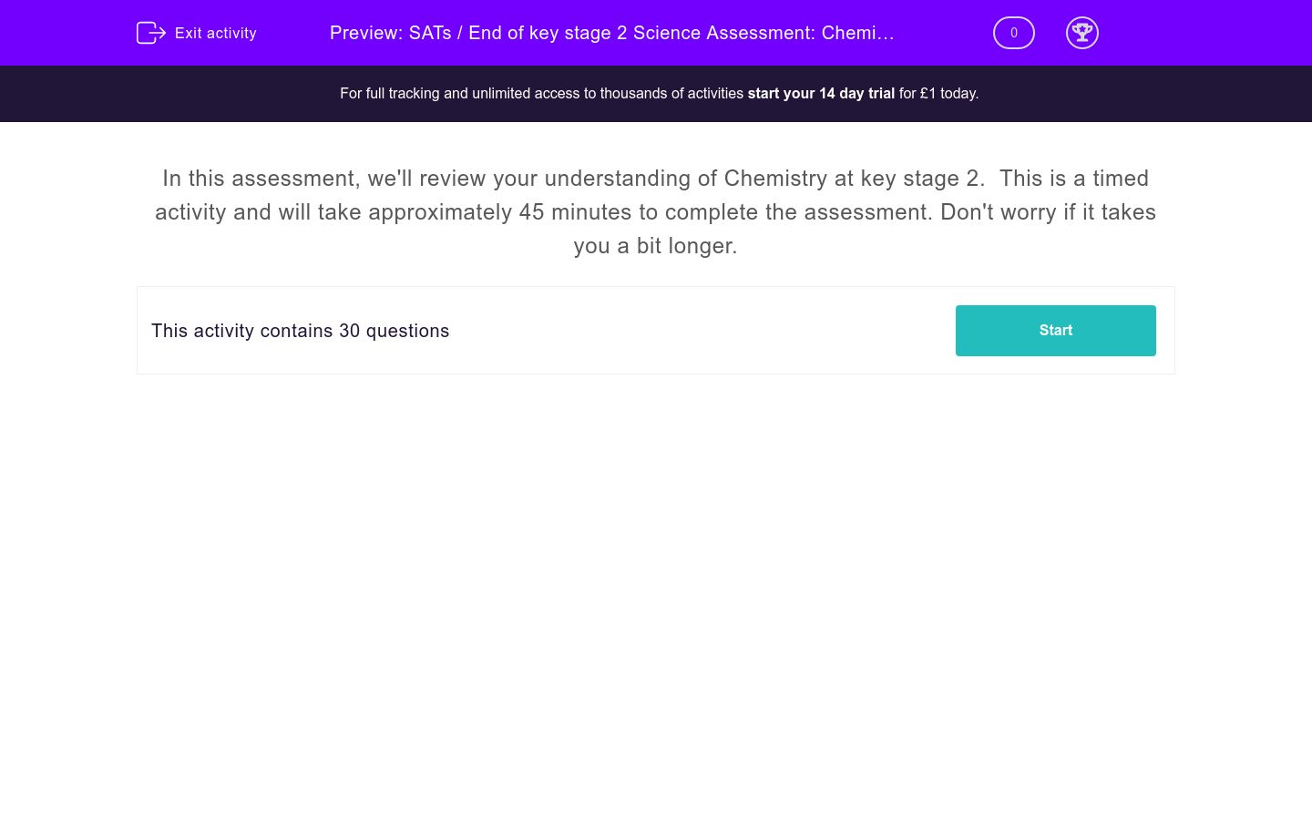 'SATs / End of key stage 2 Science Assessment: Chemistry' worksheet