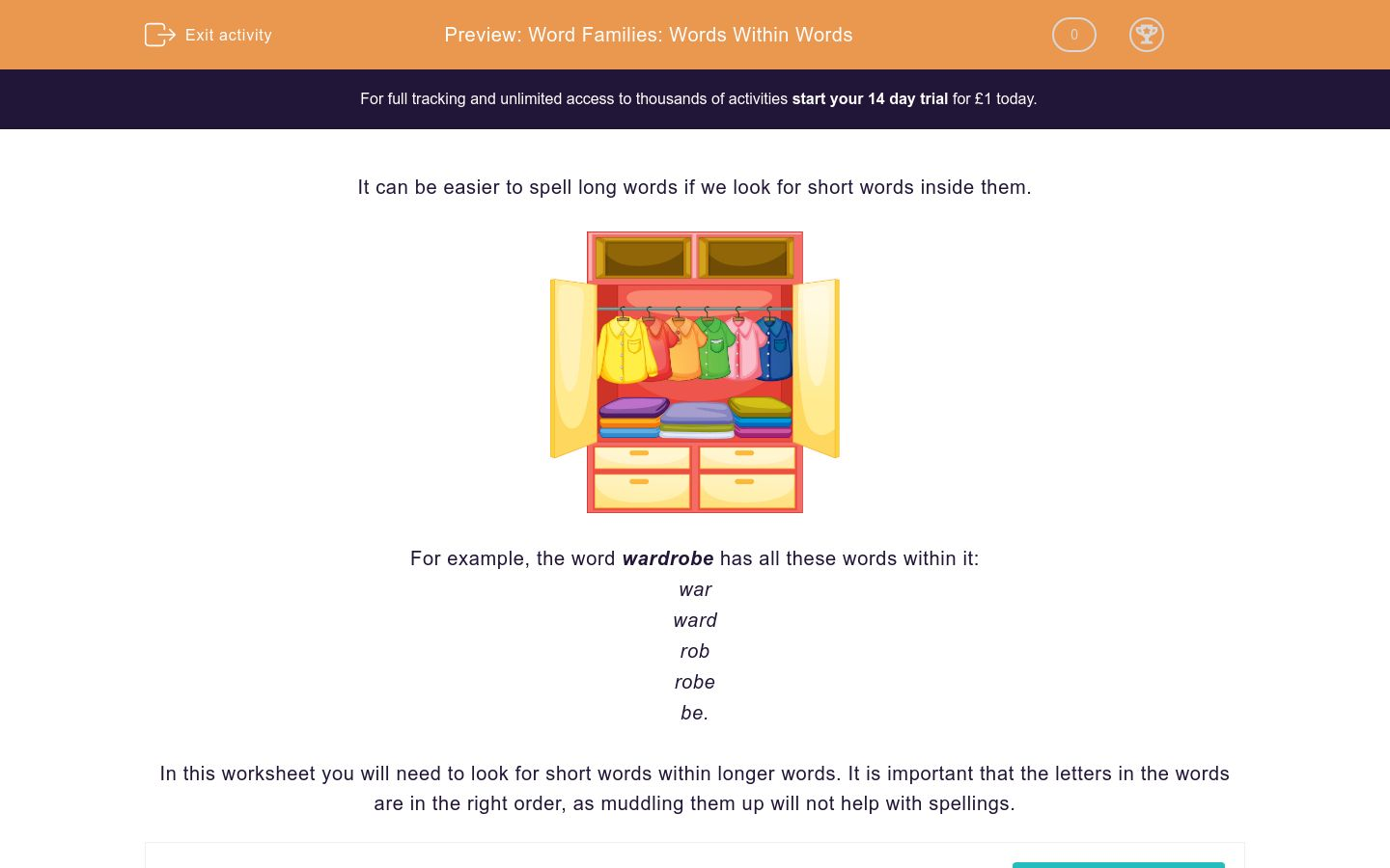 'Word Families: Words Within Words' worksheet
