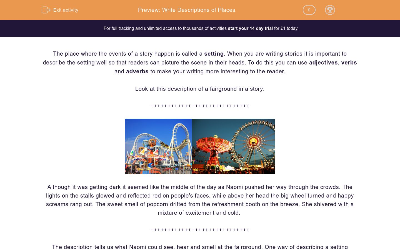 'Write Descriptions of Places' worksheet