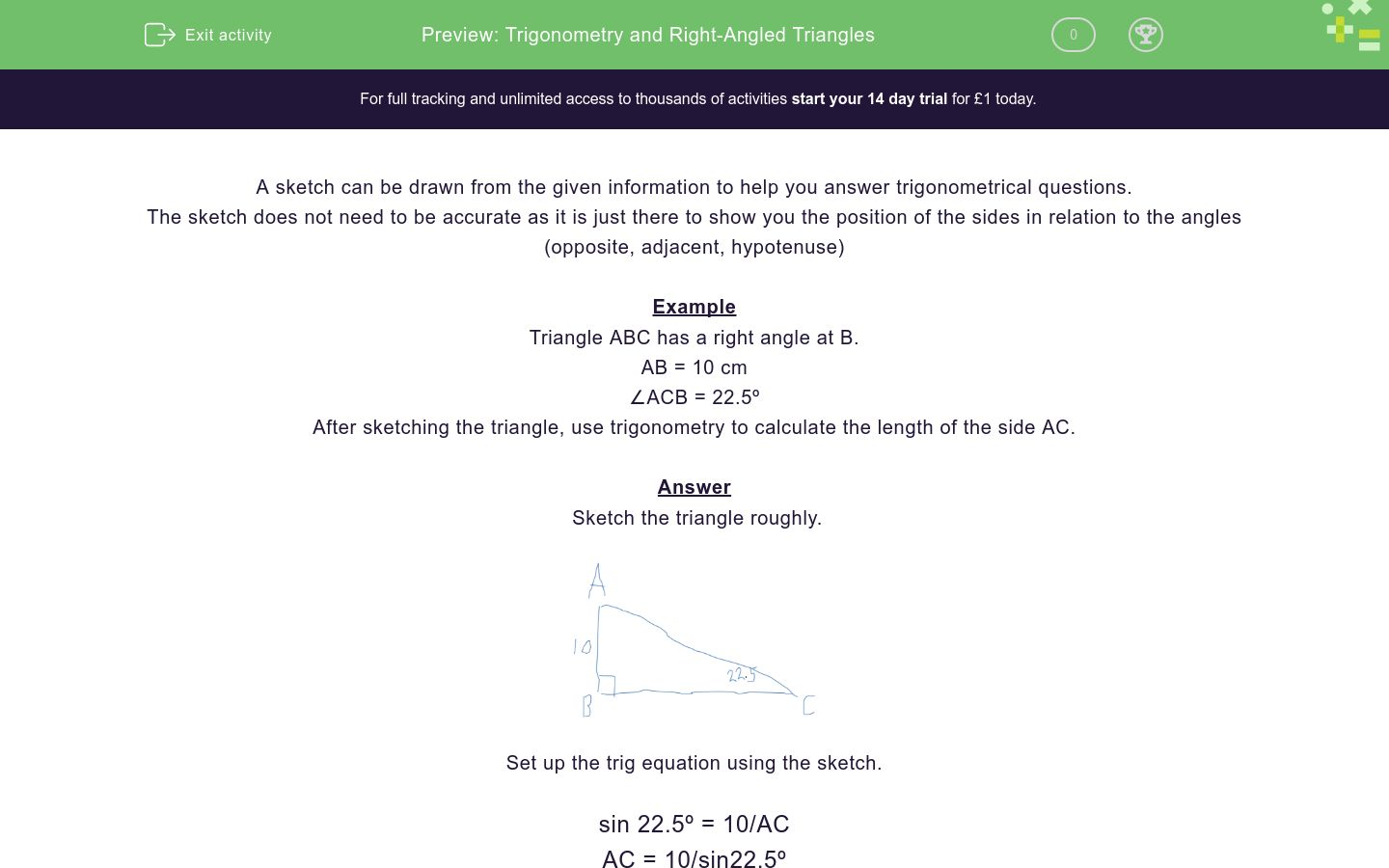 'Trigonometry and Right-Angled Triangles' worksheet