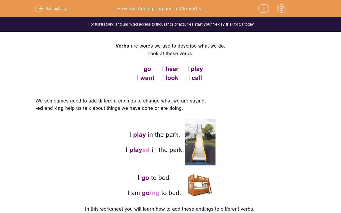 'Adding -ing and -ed to Verbs' worksheet