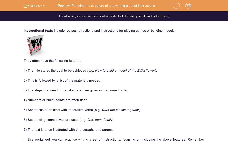 'Write a Set of Instructions' worksheet