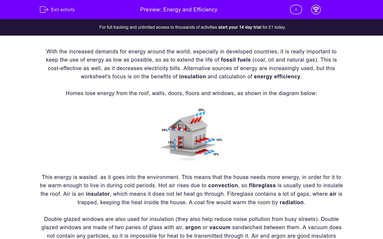 'Energy and Efficiency' worksheet