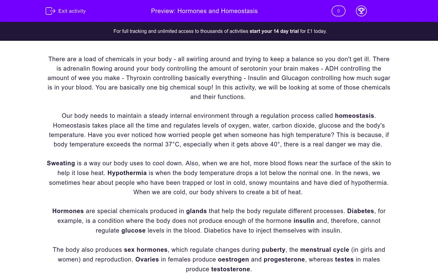Hormones and Homeostasis Worksheet - EdPlace