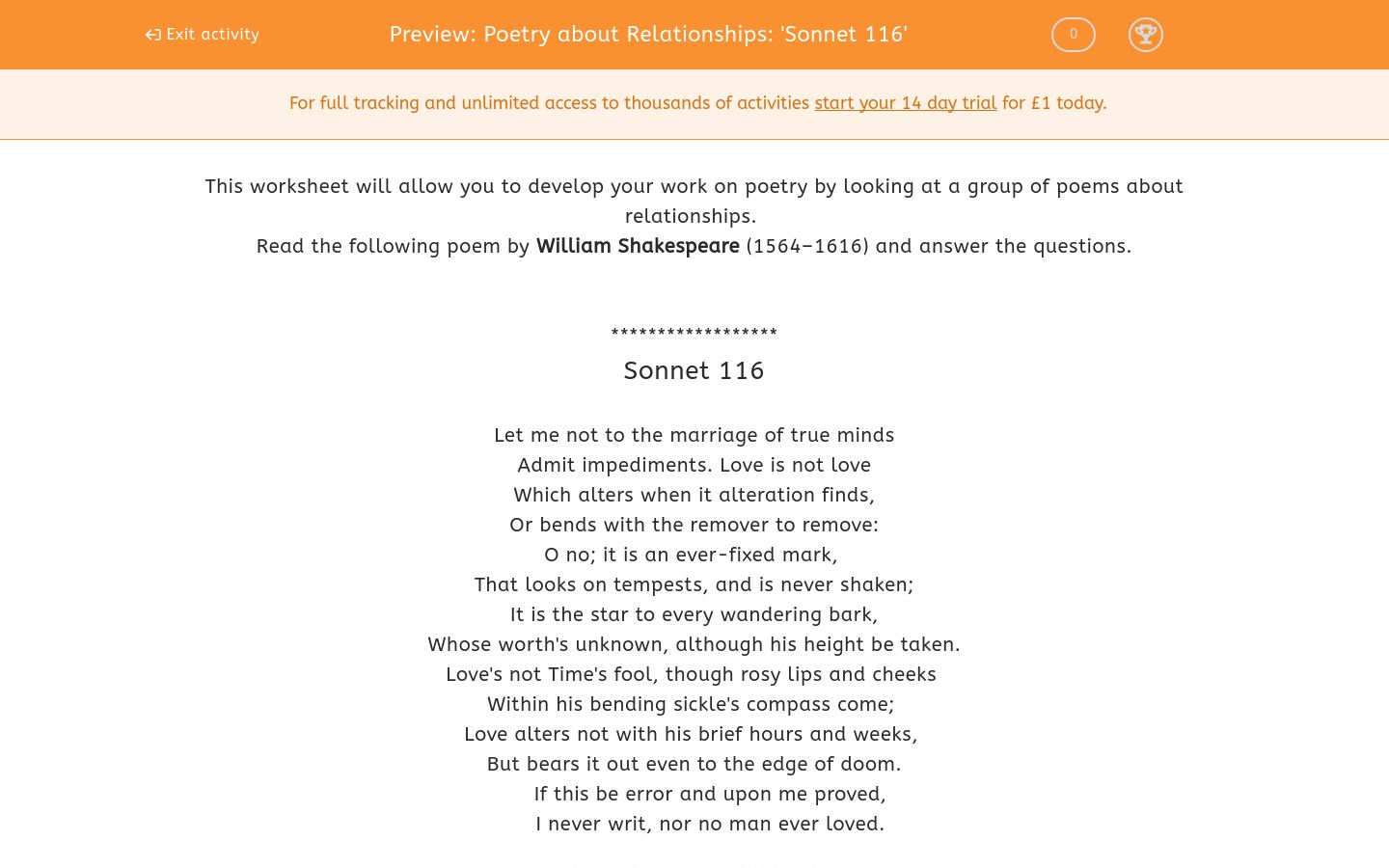 'Poetry about Relationships: 'Sonnet 116'' worksheet