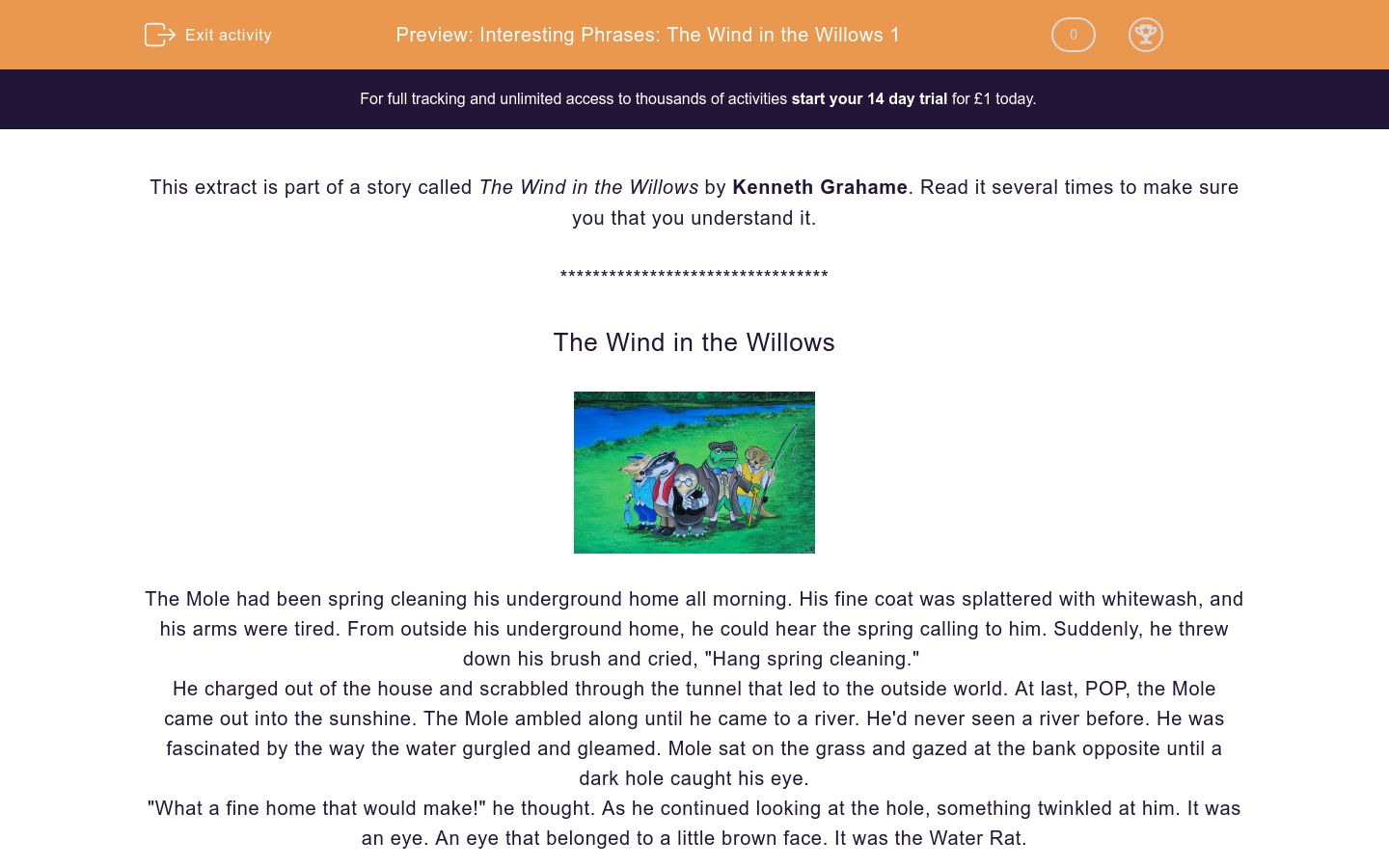 'Interesting Phrases: The Wind in the Willows 1' worksheet