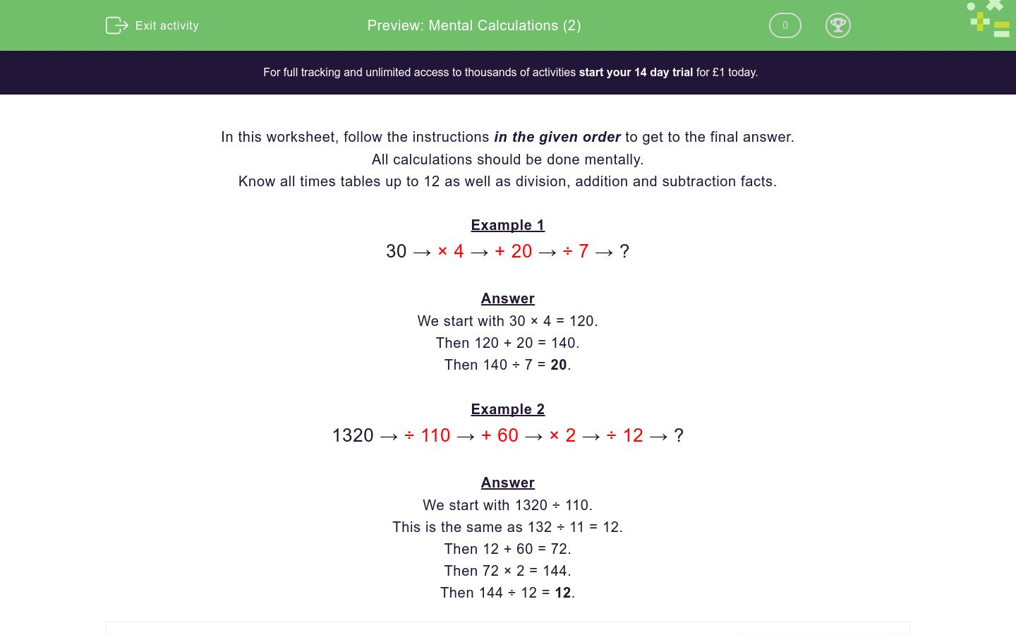 'Mental Calculations (2)' worksheet