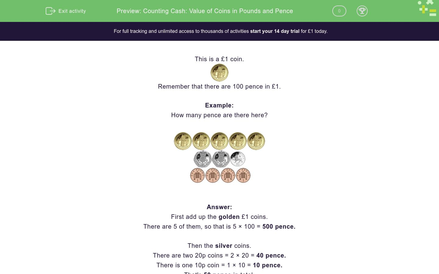 'Counting Cash: Value of Coins in Pounds and Pence' worksheet