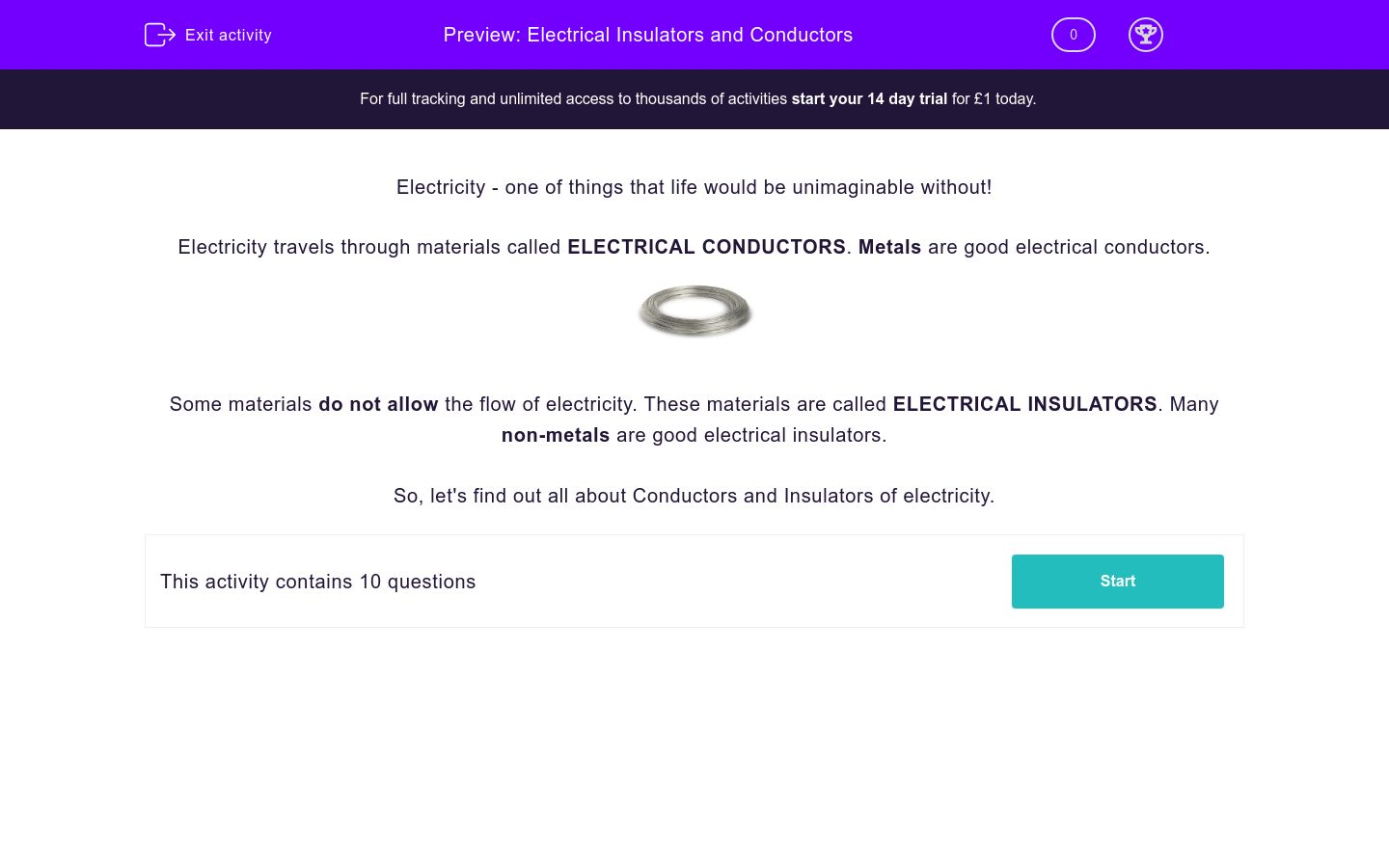 'Electrical Insulators and Conductors' worksheet