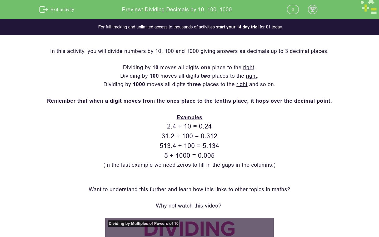 'Dividing Decimals by 10, 100, 1000' worksheet