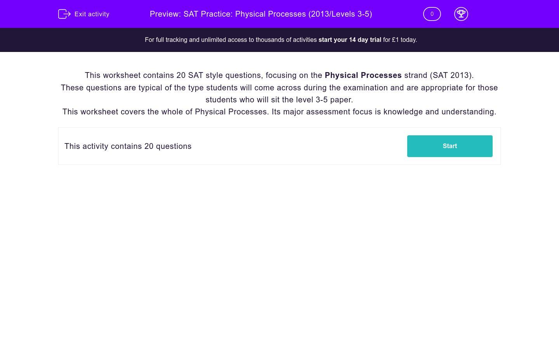 'SAT Practice: Physical Processes (2013/Levels 3-5)' worksheet